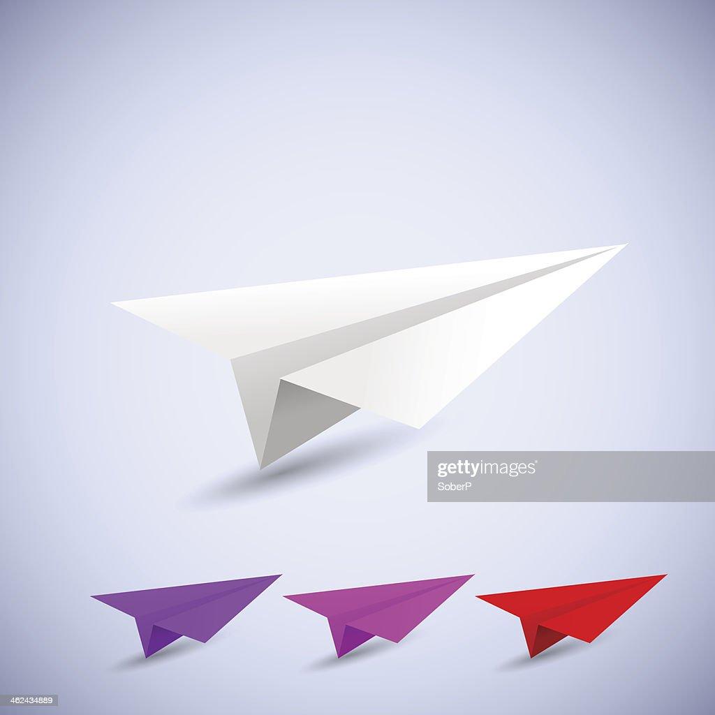 origami airplane set. vector illustration