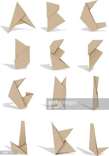 origami alphabet 1 - origami stock illustrations