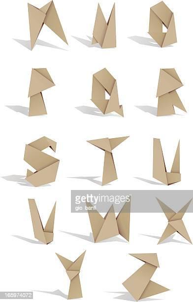 origami alphabet 2 - origami stock illustrations
