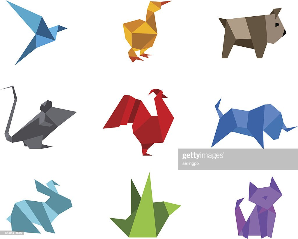 Origami animals logo set