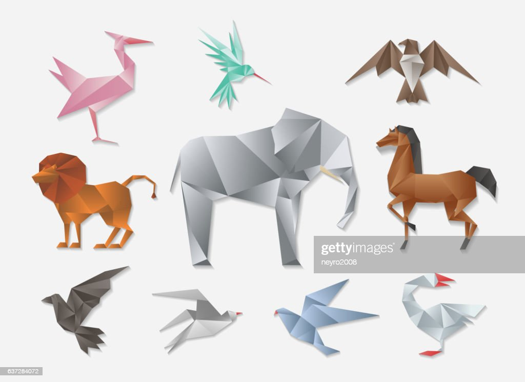 Origami animals. Vector 3d paper japanese animal set