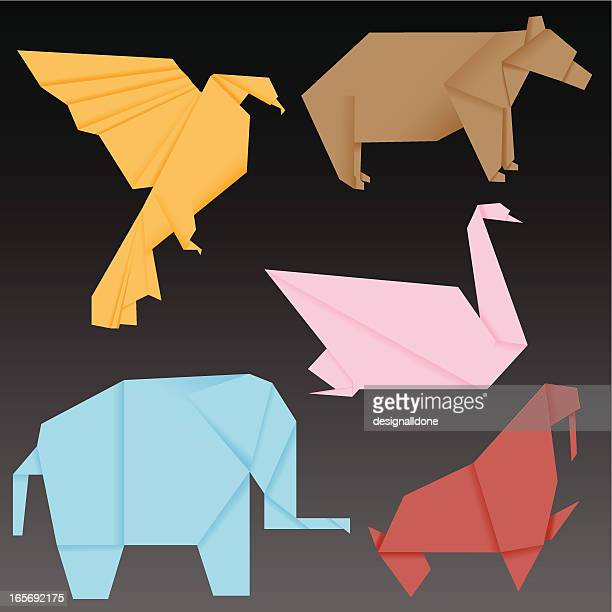 origami animals - origami stock illustrations