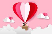 Origami Balloon On The Sky and Bride and Groom, Love and Valentine Day Vector Illustration Paper Art