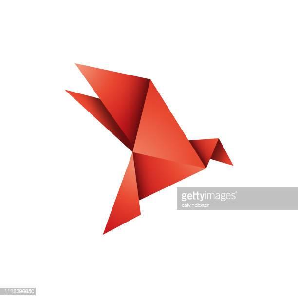 origami bird design - origami stock illustrations