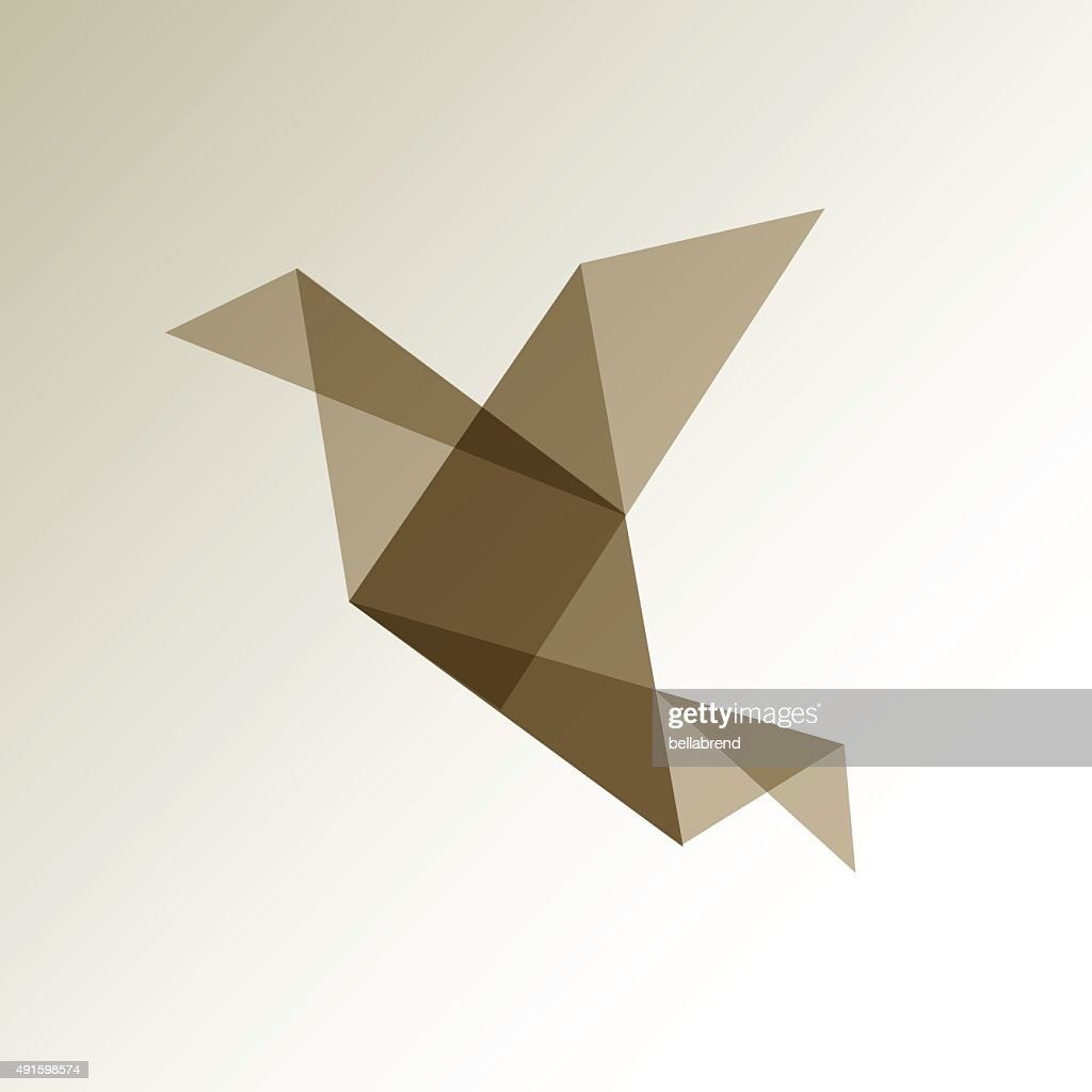 Origami bird LOGO brown.