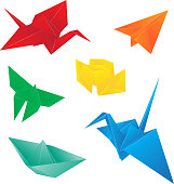 Origami birds, butterfly, paper plane, ship