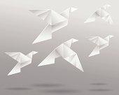 Origami Birds In Flight