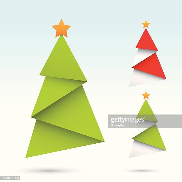 origami christmas tree - origami stock illustrations