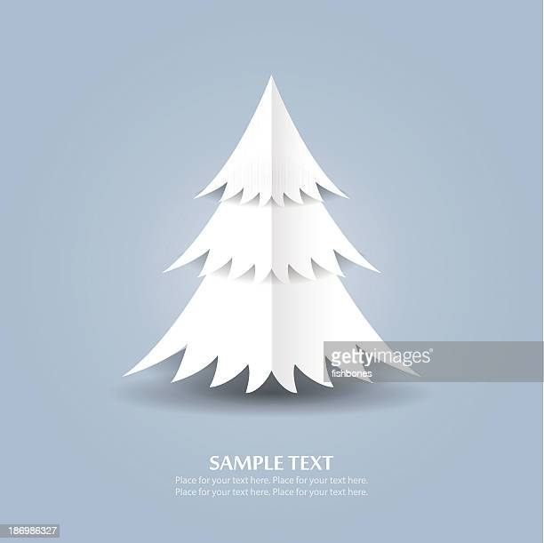 origami christmas tree - cut or torn paper stock illustrations, clip art, cartoons, & icons