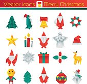 Origami Christmas, Vector icons, Infographic elements.