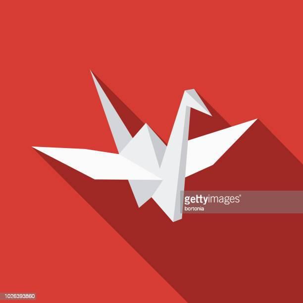 origami crane flat design japan icon - origami stock illustrations