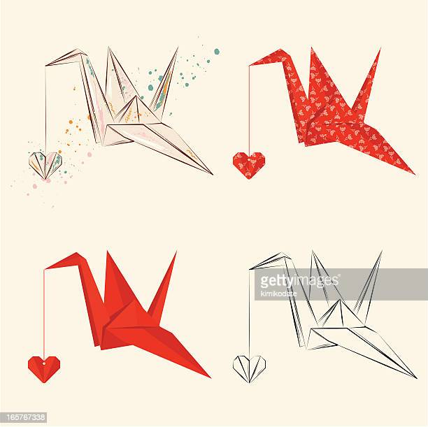 origami crane with heart - origami stock illustrations