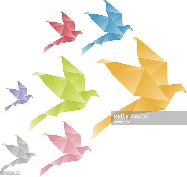 ilustraciones, imágenes clip art, dibujos animados e iconos de stock de origami cranes - grupo grande de animales