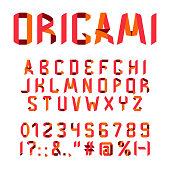 Origami font alphabet