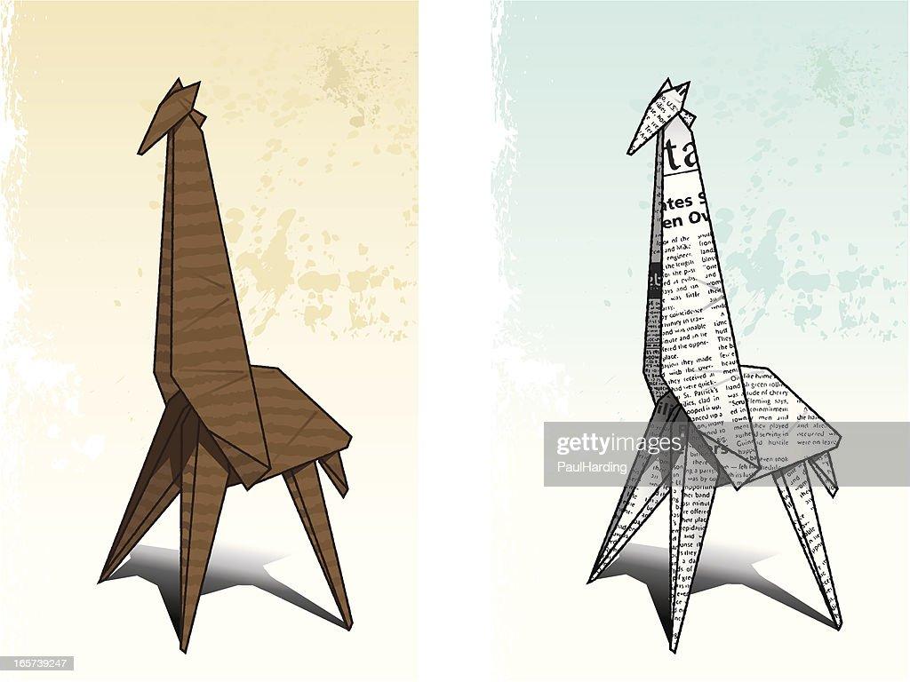 Origami Giraffe Vector Art