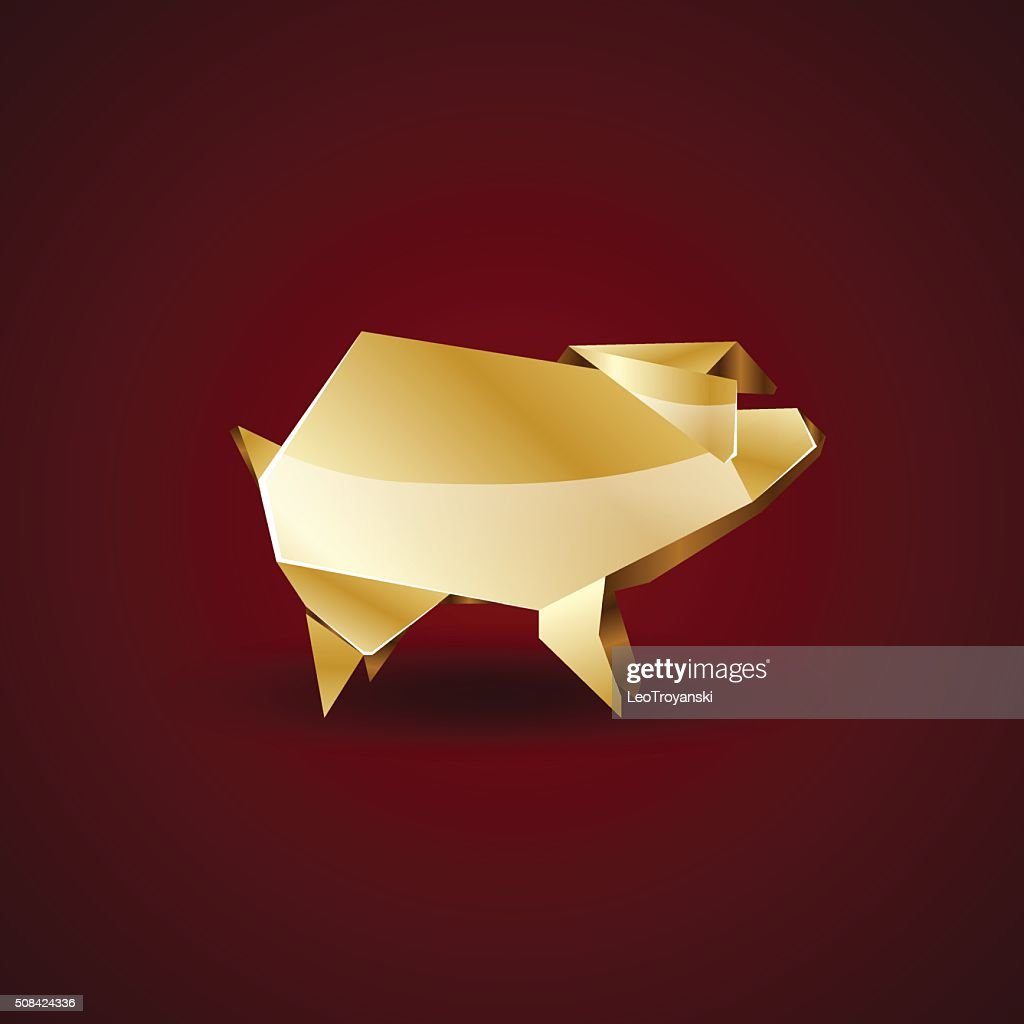 origami golden pig