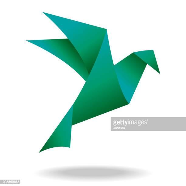 illustrazioni stock, clip art, cartoni animati e icone di tendenza di origami green bird - origami