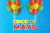 Origami Happy Cinco de Mayo Greeting card. Paper cut Balloon. Mexico, Carnival
