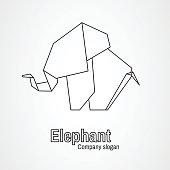 Origami icon contour elephant