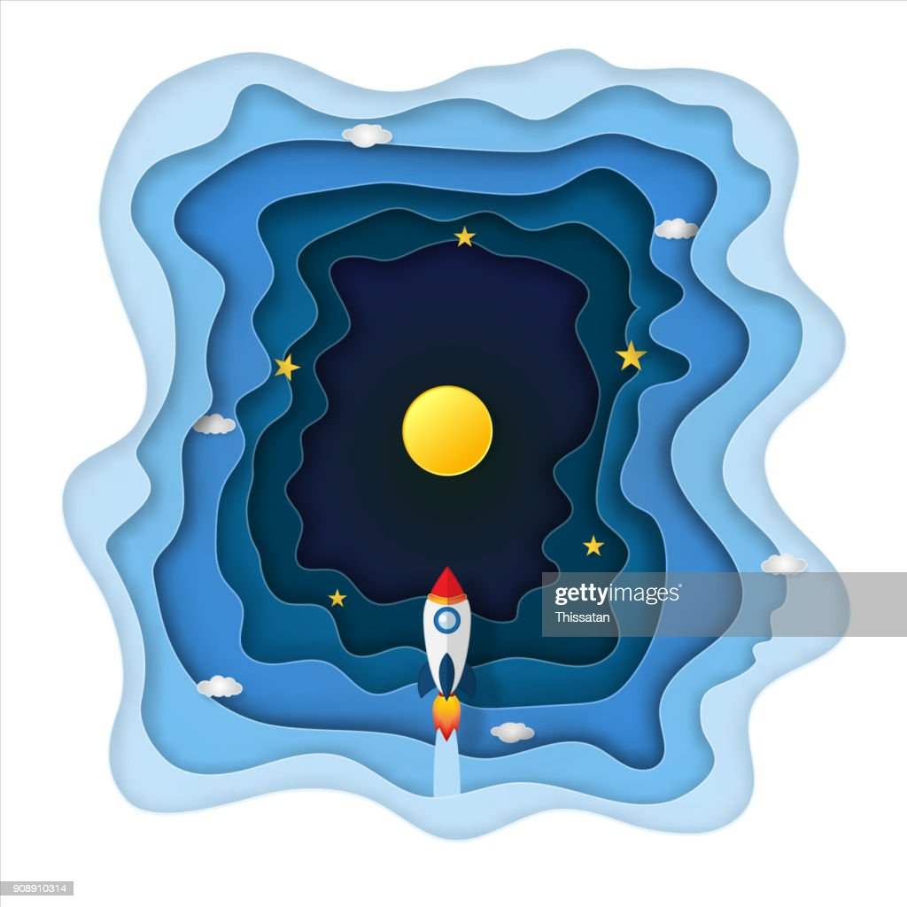 Origami layer skyscape of rocket launch flying, full moon and clouds in the dark night as paper art, craft style, travel and start up concept. vector illustrator.