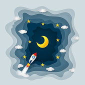 Origami layer skyscape of rocket launch, half moon, clouds and stars in the night as paper art and craft style concept. vector illustrator.