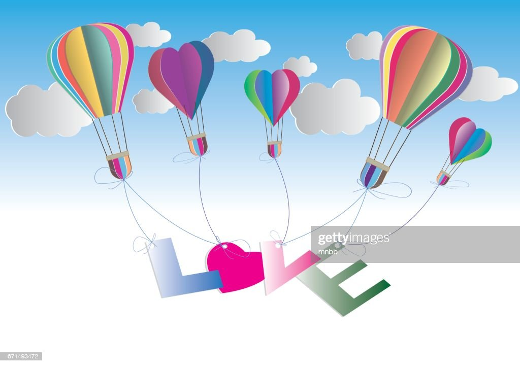 Origami Made Hot Air Balloon Paper Art And Craft Style Vector Art