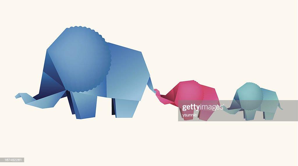 origami mother elephant with baby elephants : Vector Art