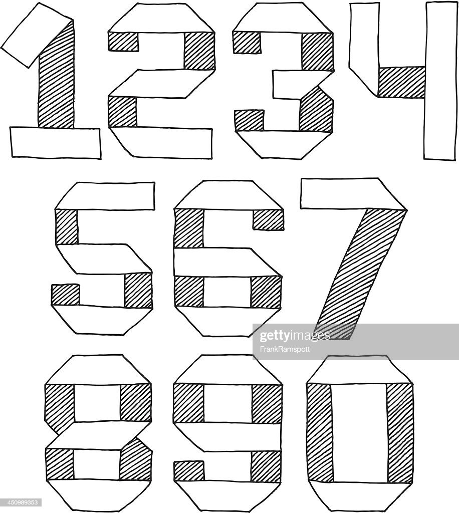 origami numbers set drawing vector art getty images