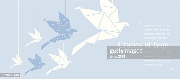 origami cranes of hope - origami stock-grafiken, -clipart, -cartoons und -symbole