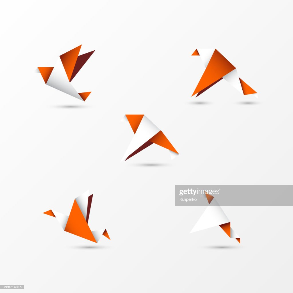 origami orange birds in modern style. Vector