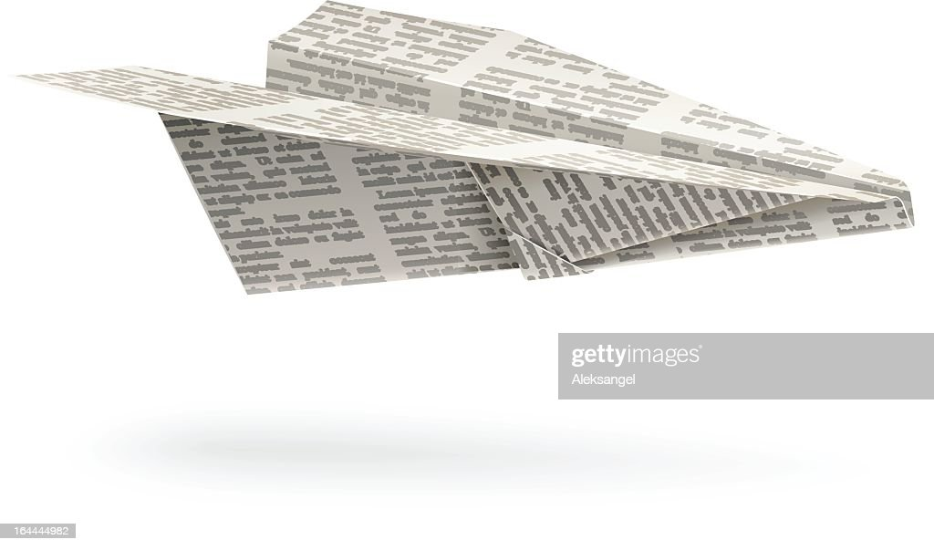 Origami paper airplane with words