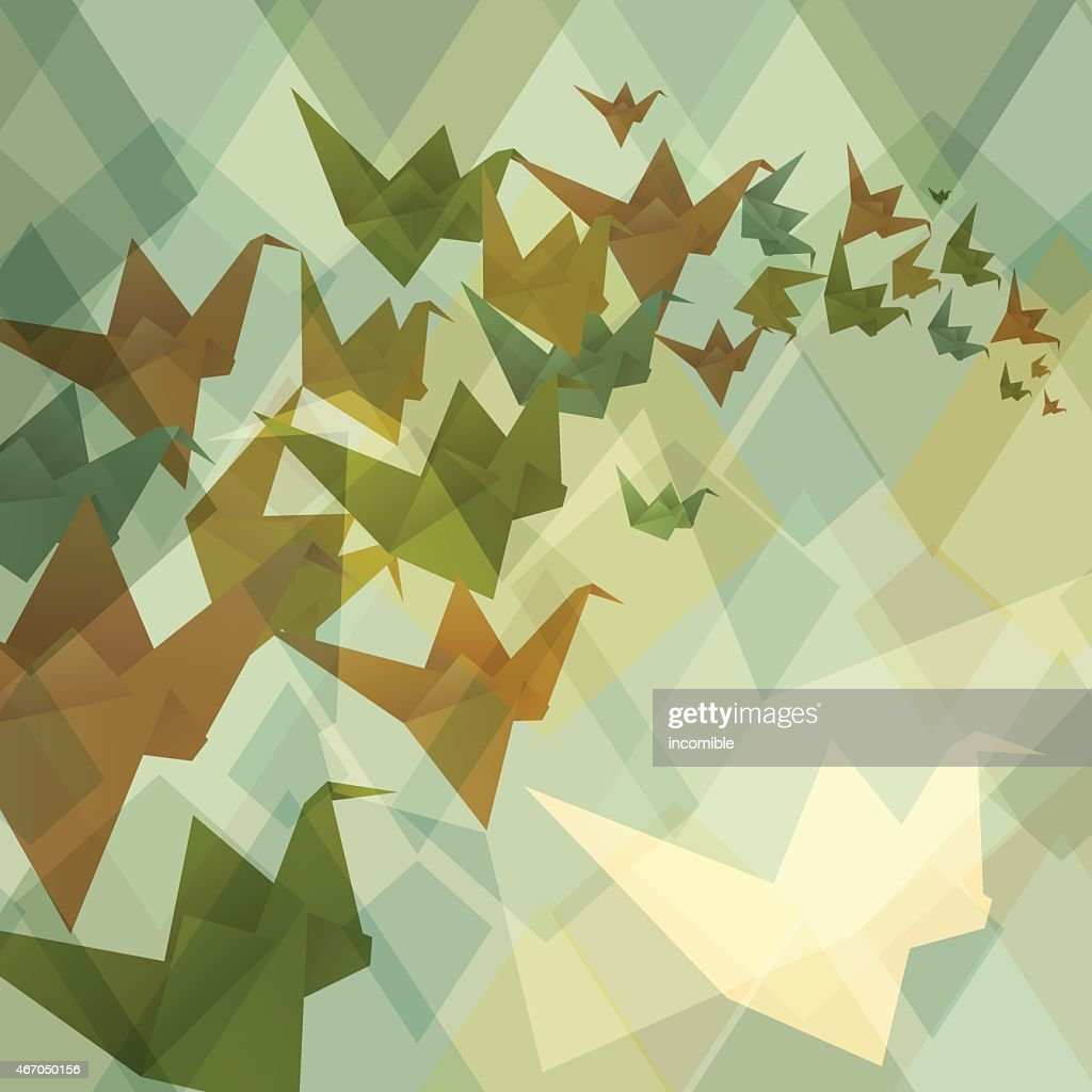 Origami paper birds geometric retro background