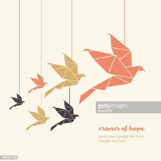 ilustraciones, imágenes clip art, dibujos animados e iconos de stock de papel origami aves - pájaro