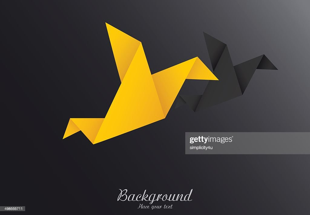 Origami paper birds-vector illustration