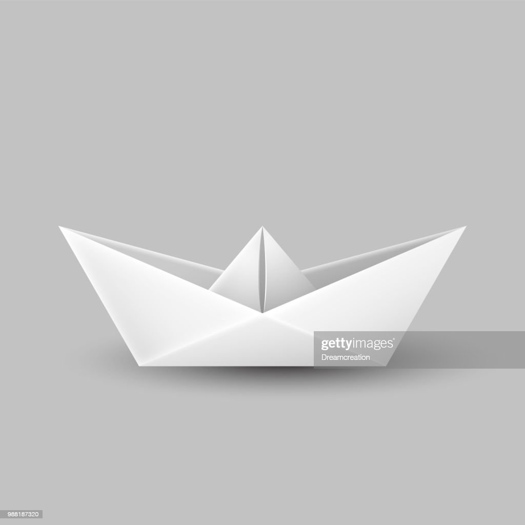 Origami paper boat, ship isolated on gray background