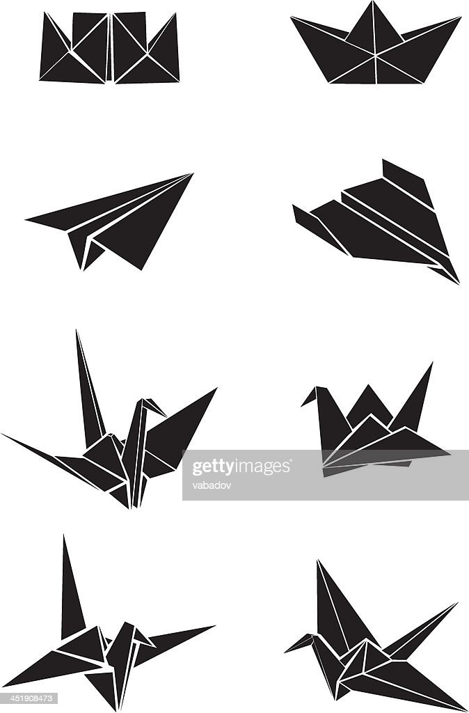 Origami paper boats, planes and cranes