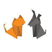 Origami Paper Dog and Cat Set. Vector