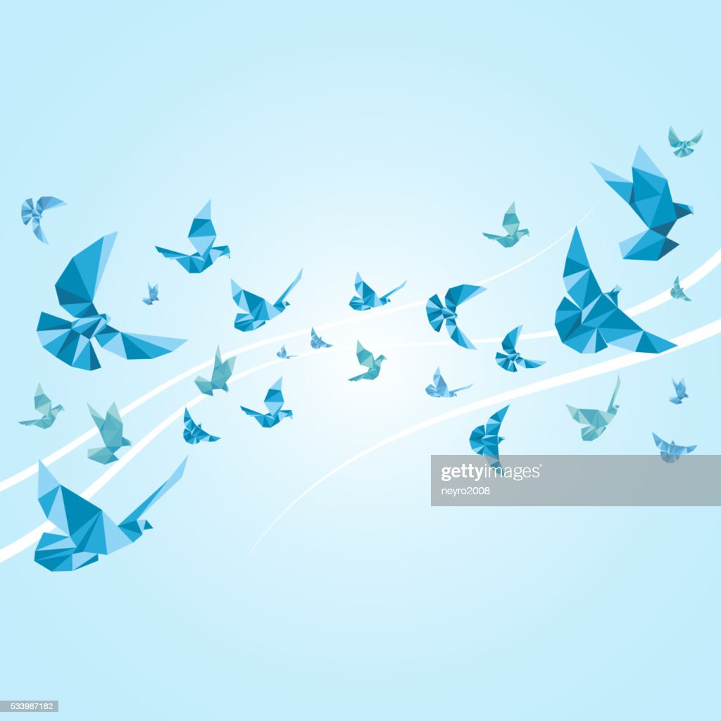 Origami paper doves. Vector abstract background