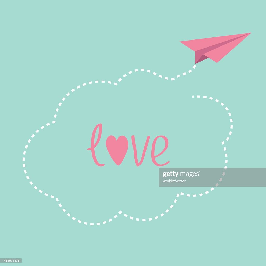Origami paper plane. Dash cloud in the sky. Love card.