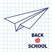 Origami paper plane Handdrawn doodle Paper sheet background Exercise book