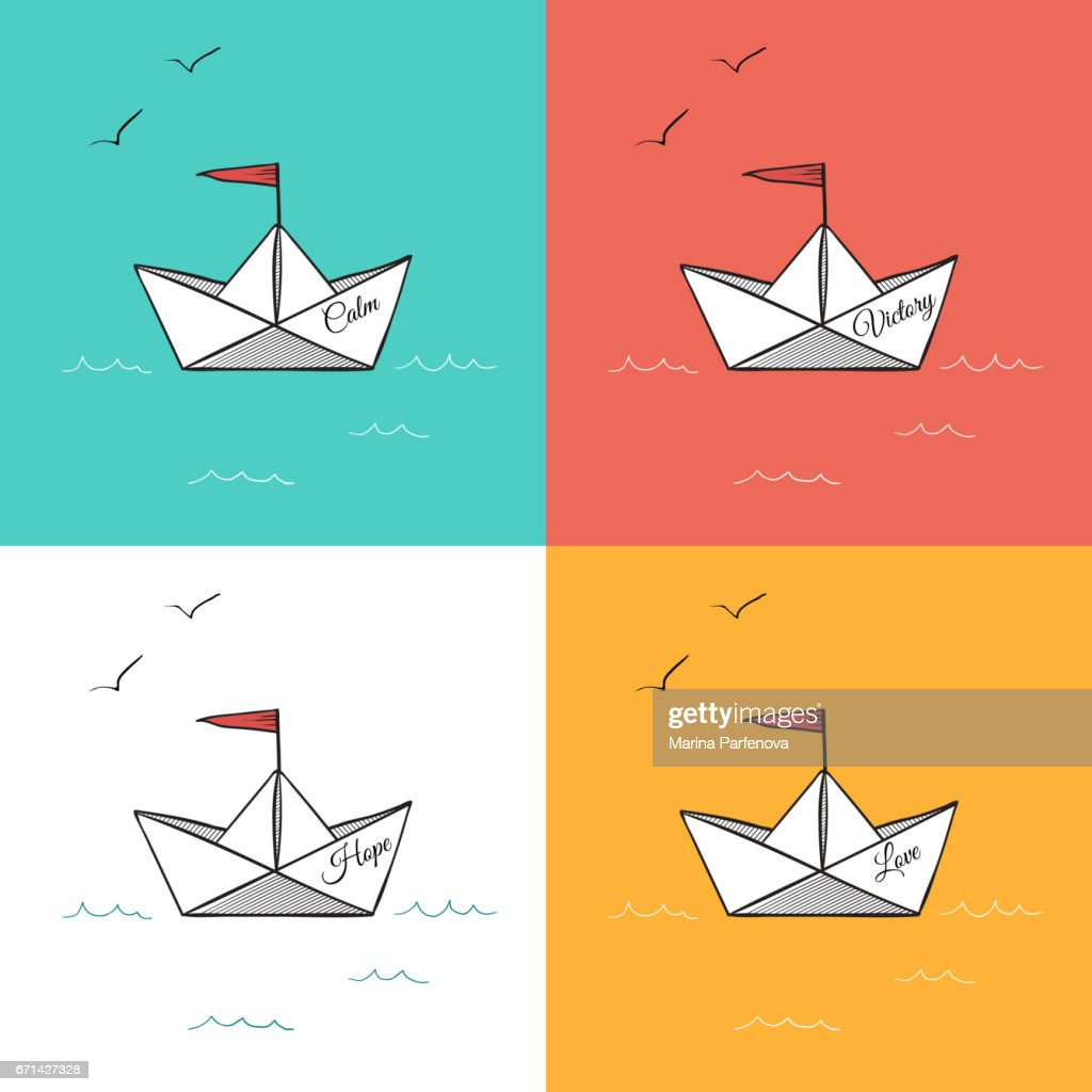 Origami paper ships on sea waves vector illustration