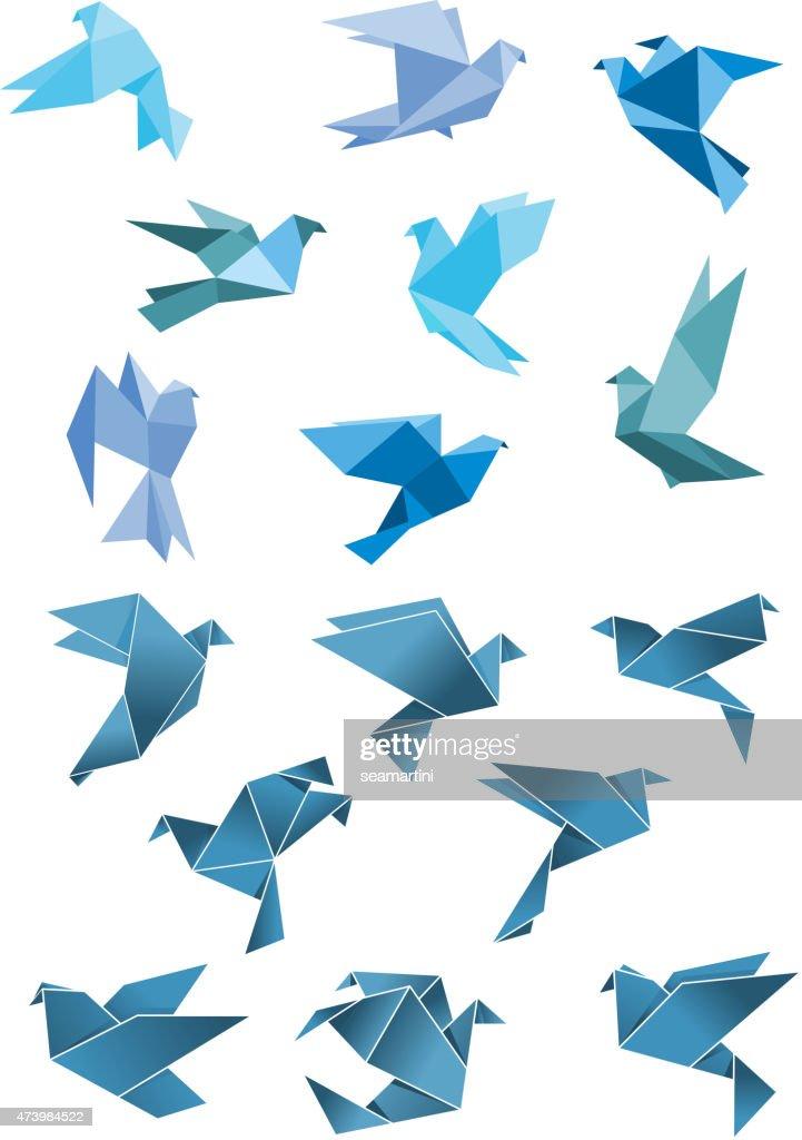 Origami paper stylized blue flying birds