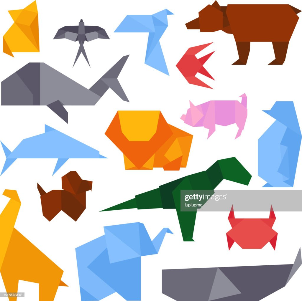 Origami style illustrations of different animals vector.