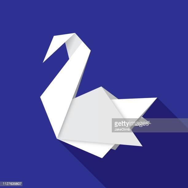 Origami Schwan Symbol flach