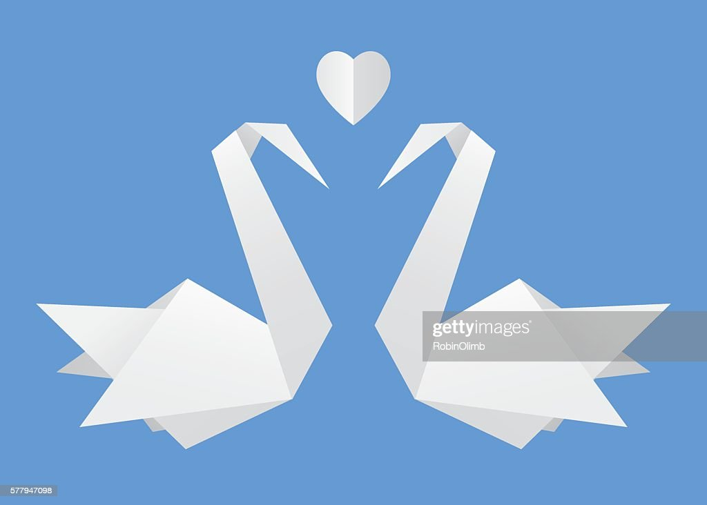 Origami Swans In Love Vector Art Getty Images