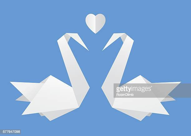 Origami Swans In Love