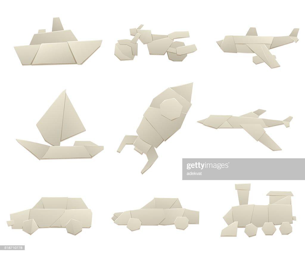 Origami transport collection original flat vector illustration
