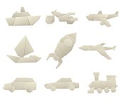 Origami transport collection original flat vector illustration