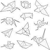 Origami vector set, Crane, bird, boat, paper plane