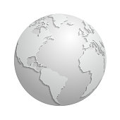 Origami white paper world globe. 3d vector illustration